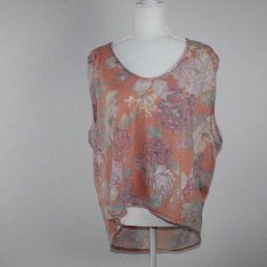 Orange floral sleeveless tank